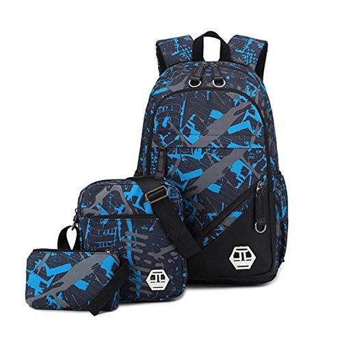 Mioy 3 Teile Set Jugendliche Schultasche Canvas Printing Rucksack Männer Schulrucksack Jungen 15 Zoll Laptop Backpack (Blau) (3 Schulranzen)