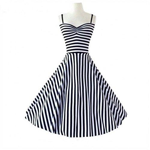 marloca Hepburn Vintage Style Années 5060's à rayures Robe Rockabilly Swing Sexy Noir/blanc