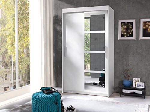 Kleiderschrank Schwebetürenschrank Schlafzimmerschrank NERO (Weiß matt)