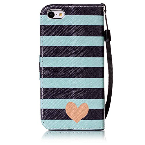 Hülle für iPhone 5C, Tasche für iPhone 5C, Case Cover für iPhone 5C, ISAKEN Malerei Muster Folio PU Leder Flip Cover Brieftasche Geldbörse Wallet Case Ledertasche Handyhülle Tasche Case Schutzhülle Hü Streifen Herz