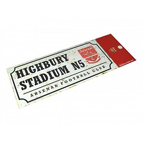 offizielles Arsenal FC Metallschild im Retrolook mit altem Clubwappen und ehemaliger Stadionadresse (Einheitsgröße) (Weiß)