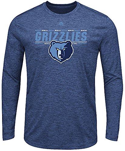 Majestic Athletic Memphis ECHL Herren Navy Heather Thrill A Minute Synthetik Lange Ärmel T Shirt, Herren, Blau, Small - Langen Ärmeln Navy Blau Shirt