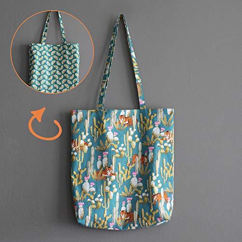 4a939cfa51f9 Tote bag réversible femme Bengale sac tissu tigres cactus fleurs éventails  graphique bleu turquoise cadeau fête