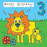 twizler 3. Geburtstagskarte für Kind mit Löwe und kommt Kulleraugen–3Jahre–Alter 3–Kinder Geburtstag–Jungen Geburtstag Karte–Mädchen Geburtstag Karte