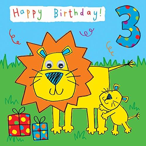 Twizler 3rd Di Compleanno Per Bambini Con Leone E Rifinita A Mano
