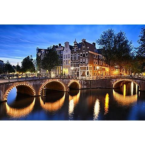 Notte arco ponte canale con tradizionali case di Amsterdam Paesi Bassi Europa Home Decor Poster Da Parete 58x