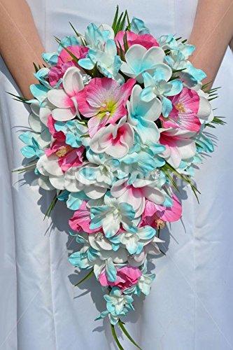 Aqua-Tropical-y-fucsia-Kathryn-pledger-Plumeria-orqudea-Dendrobium-y-hibisco-cascada-ramo-de-novia