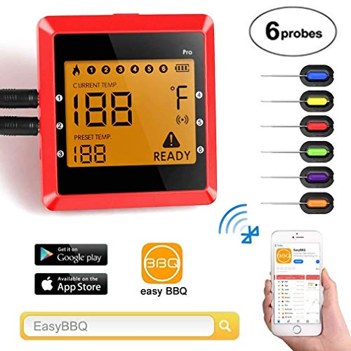 Co-existance Grillthermometer Bluetooth mit 6 Fühlern, Digitales Wireless BBQ Thermometer -