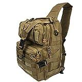 FHGJ Military Tactical Assault Pack Sling Rucksack Armee Moore Wasserdichte EDC Rucksack Outdoor Wandern Camping Jagd 20L,Brown