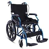 Sedia a rotelle leggera, sedia da trasporto pieghevole, sedia a rotelle manuale medica standard leggera, braccioli comodi e braccioli elevabili, quattro sistemi frenanti anteriori e posteriori