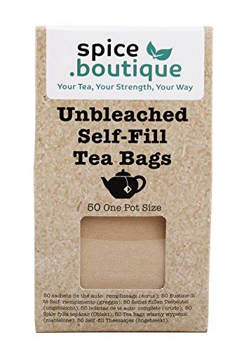 spice.boutique Unbleached Paper Self Fill Teabags, Plastic Free, One Pot Size 7x9cm, 50