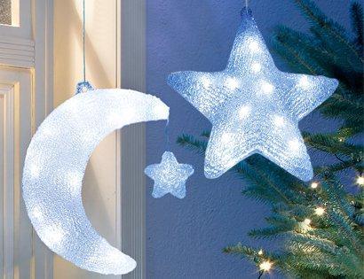 Weihnachtsbeleuchtung Acryl LED Mondsichel, Mond für den Innen- und Aussenbereich