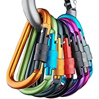Banner Bonnie Pack de 6pcs Aluminio mosquetón D-Ring Llavero Clip Gancho para el hogar, RV, Camping, Pesca, Senderismo, Viajes y Llavero, Hombre Mujer Infantil, 6pcs/Pack