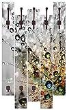 Artland Qualitätsmöbel I Garderobe mit Motiv 5 Holz-Paneele mit Haken 68 x 114 cm Botanik Blumen Pusteblume Foto Bunt F1YG Farbenfrohe Natur