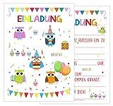 Set 12 Einladungskarten Einladungen Kindergeburtstag Geburtstag Party Mädchen mit Eulen bunt Postkarte Einladung