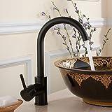 Fapully Mischbatterie Badarmatur Wasserhahn Bad Armatur Waschtischarmatur Waschbecken Einhebelmischer Badzimmer Waschbeckenarmatur Schwarz