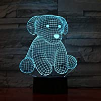 Wuqingren Cute Bear 7 Colors Change Night Lamp LED 3D Table Light for Bedroom Sleeping Lamp Home Decor Art Decor Kids Gift,7 Colors Change