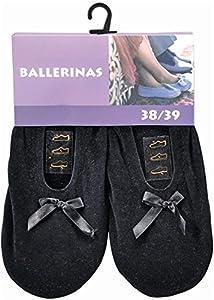 Damen Ballerinas mit echter Rindsledersohle ALS Hausschuh oder für leichten Sport Farbe Schwarz Größe 40/41