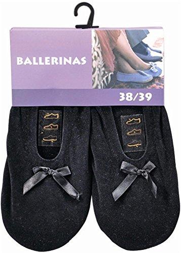 Damen Ballerinas mit echter Rindsledersohle als Hausschuh oder für leichten Sport Farbe Schwarz Größe 38/39