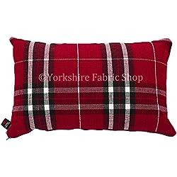 """Funda inspirado escocés Tartan Diseño de cuadros tejido cojín relleno cojines británico hecho a mano rojo color–Tamaño–50cm x 30cm rectangular–19""""x 12pulgadas"""