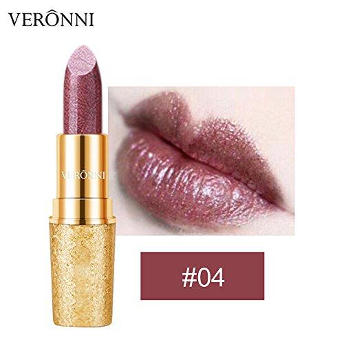 Liquidation !!! OSYARD Beauté Rouge à lèvres Imperméable Longue durée d'or Mat Lèvre Cosmétique Beauté Maquillage(#04)