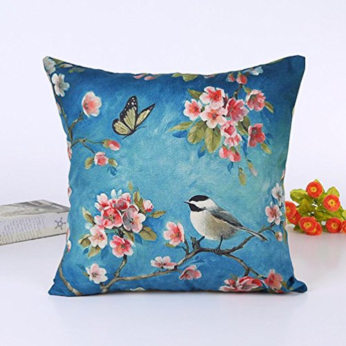 Retro Pillow Case branches birds pattern Cotton Linen Cushion Cover Home Decor (C)