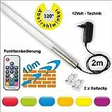 160cm Lönartz® RGB LED Leuchtstab mit großen Ausleuchtbereich (320°) und Funkfernbedienung, 2300lm 22W 12V, Farben einstell- und dimmbar, mit Netzteil und Halterung (LS160-RGB-RF)