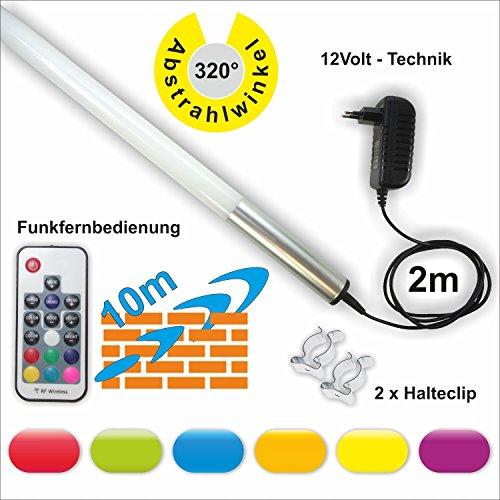 160cm Lönartz® RGB LED Leuchtstab mit großen Ausleuchtbereich (320°) und Funkfernbedienung, 2300lm 22W 12V, Farben einstell- und dimmbar, mit Netzteil und Halterung (LS160-RGB-RF) (Punkt, Rf-fernbedienung)