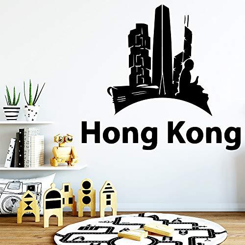 yaoxingfu Mode Hong Kong Wandaufkleber wasserdichte Wandkunst Dekor Vinyl Aufkleber Aufkleber Wandbild Vinilo Decorativo Adesivo De Parede weiß 85x93 cm