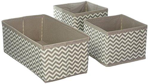 fbox für Schrank oder Schublade – die ideale Aufbewahrungsbox für Wäsche, Gürtel, Accessoires etc. – flexibel verwendbare Stoffkiste mit Zick-Zack-Muster – beige (Kleine Aufbewahrungsboxen)