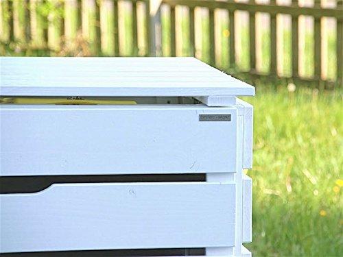 3er Mülltonnenbox / Mülltonnenverkleidung 120 L Holz, Deckend Geölt Weiß - 3