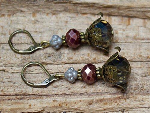Vintage Ohrringe mit Glasperlen – grau, braun & bronze - 2