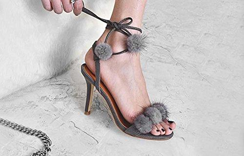 NobS Sandali di Stiletto del tessuto del rivestimento di sfera del piede di cuoio delle nuove donne aperte del piede di Mink Grey