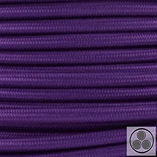Textilkabel Stoffkabel lila , 3-adrig rund