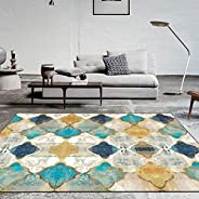 Vintage Area Rug Large Soft Touch Printed Geometric Morocco Floor Mat Large Carpet for Living Room Bedroom (Re