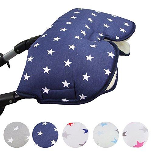 BAMBINIWELT universaler Muff/Handwärmer für Kinderwagen, Buggy, Jogger mit Wolle, Baumwolle (marine weiße Sterne)
