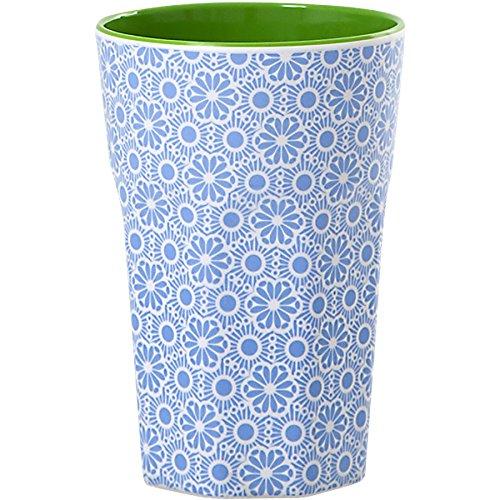 rice Becher Melamine Two Tone Latte Cup Marrakesh Print MAX Temp. 90C (Blue & White innen Apple Green) Green Latte Becher