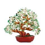 BWinka 7 pulgadas piedra verde decoración de árbol de dinero de cristal para riqueza y buena suerte Oficina casa oficina de la mesa de la riqueza suerte, mejor regalo