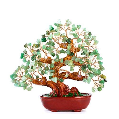 BWinka 7 Zoll Stein Grün Kristall Geld Baum Dekoration Kristall Geld Baum für Reichtum und viel Glück Glück, Geld, Baum
