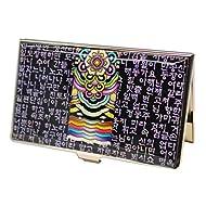 Porte-cartes de visite asiatique, décors de nacre coloré naturelle. Design peintures traditionnelles batiment ancien