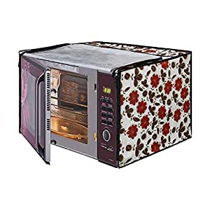Glassiano White Floral Printed Microwave Oven Cover for Samsung 28 Litre Convection Microwave Oven MC28H5025VB/TL, Black