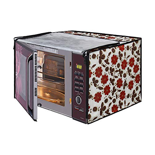 Glassiano White Floral Printed Microwave Oven Cover for LG 32 Litre Convection Microwave Oven MC3286BRUM, Black