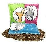 Baldrian Schmuse und Spielkissen für Katzen | Baldrianwurzel | 3er Sparpack | 100% Baumwolle | 100% natürliche Füllung | Größe ca.12x7,5cm | Top-Qualität Made in Germany