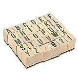 Francobolli ABC in legno-pezzi Set punzoni lettere dell' alfabeto e simboli-legno montato timbri di gomma per la creazione di biglietti, lavoretti e scrapbooking