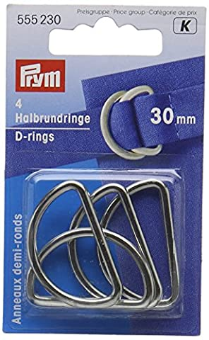 PRYM 30mm D-Ringe, Silber (Nähen Ringe)