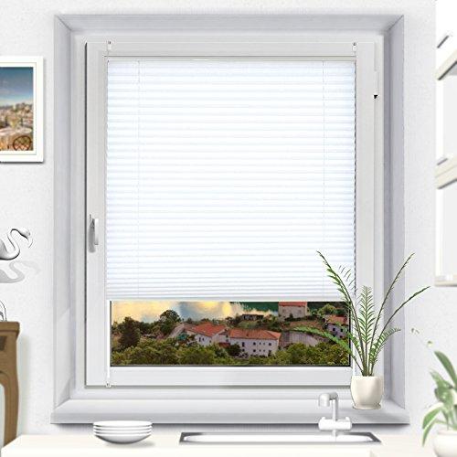 OUBO 55 x 100 cm Weiß Plissee Klemmfix Verspannt Jalousie ohne Bohren 55 cm Breit