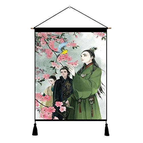 JINSH Home des männlichen Kostüms der chinesischen Art des Alten Kostüms schöner männlicher Schwertkämpferstudiums-Wohnzimmerschlafzimmerbaumwollleinen-Kunst, die dekorative Malerei Malt (Size : D)