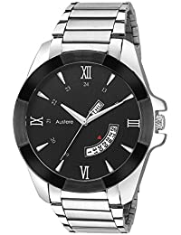 Austere Premium Quality Black Color Day & Date Analog Men's Watch With Metal Chain: AWM-WLM-020702