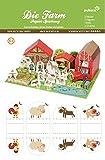 Bastelbogen Die Farm ,21Figuren ,3 Häuser & 13 extra Elemente - Pukcaka DIY Bastelbögen Papier-Karton für Kindergeburtstag als Geschenkidee, Bastelidee für Jungs und Mädchen