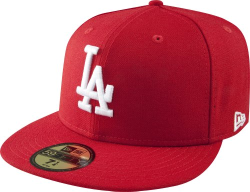Weiß Fitted Hat Cap (new era MLB BASIC LA DODGERS scarlet/weiß)